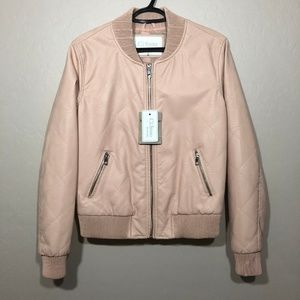 CI SONO Pink Faux Leather Quilted Bomber Jacket